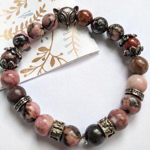 NEW unisex Rhodonite stretchable bracelet